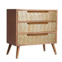 Bernastine Gold 3 Drawer Chest 80cm For Sale -ChicParadisLux